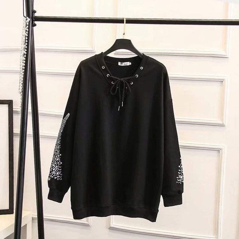 2019 Grande Taille Mode Printemps Sweat Nouvelle Augmentation de Femmes Moyen Long Bretelles Avec Flve branches Tops Dames shirts