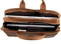 J.M.DJ.M.D Crazy Horse Leather Men's Briefcase Laptop Handbag In Messenger Bag Document Leather Bag 6020B