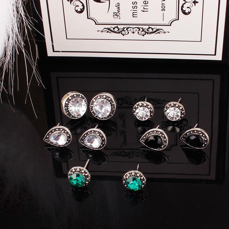 Efficient F&u 5 Pairs/set Three Colors Rhinestones Bohemian Earring Stud Vintage Alloy Rhinestone Pearl Earring Studs Charm For Women Nourishing The Kidneys Relieving Rheumatism Stud Earrings