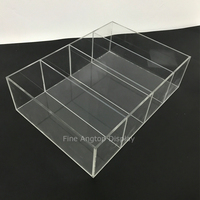 Acrylic Deluxe Clear Jewelry Display Case Rectangle Box Tray Holder With 4 Removable Dividers
