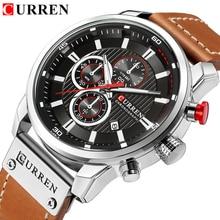 Часы для мужчин Элитный бренд CURREN хронограф для мужчин спортивные часы кожа кварцевые наручные часы Relogio мужские часы армия военная униформа