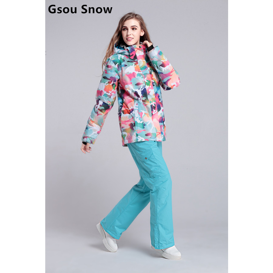 2017 gsousnow womens ski suit female skiing suit multicolour Camouflage ski jacket and blue pants snowboarding suit skiwear warm 2016 womens color matching ski jacket blue pink gray snowboarding jackets skiing jacket for women anorak skiwear 10k xs l