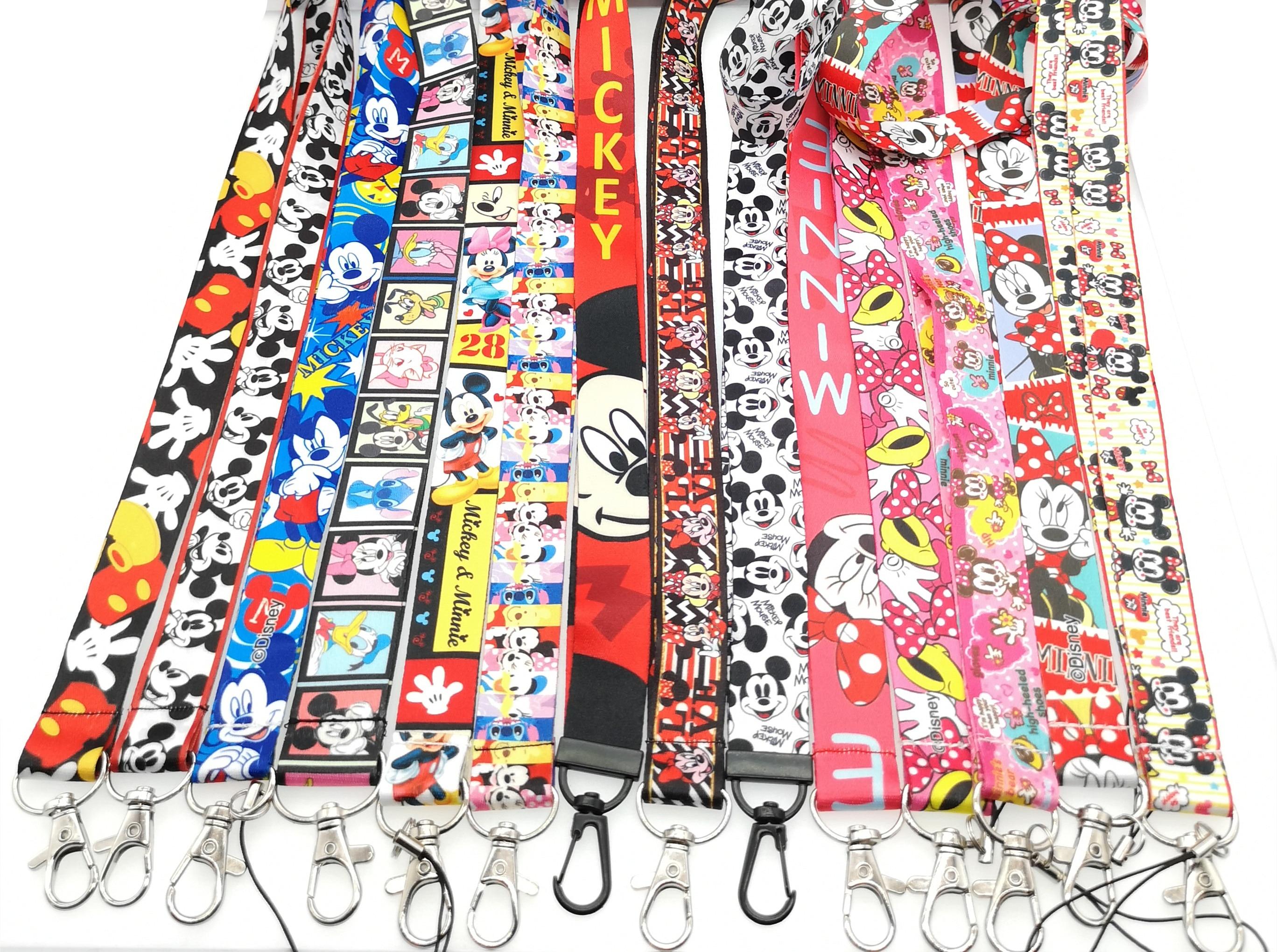 10pcs/20pcs/50pcs/100pcs Cartoon Mickey Minnie Color Mix Lanyard Neck Strap Lanyard Mobile Phone Key Chain ID Badge Key Chains
