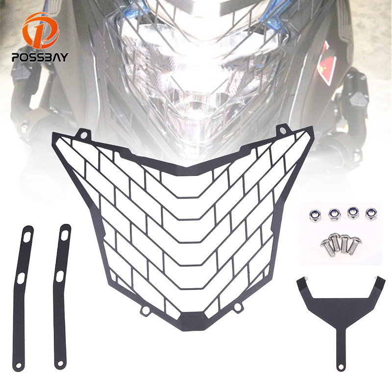 POSSBAY Motorcycle Headlight Grille for <font><b>Honda</b></font> <font><b>CB500X</b></font> <font><b>2016</b></font> 2017 Motorbike Parts Accessories Black Guard Cover Protector Grille image