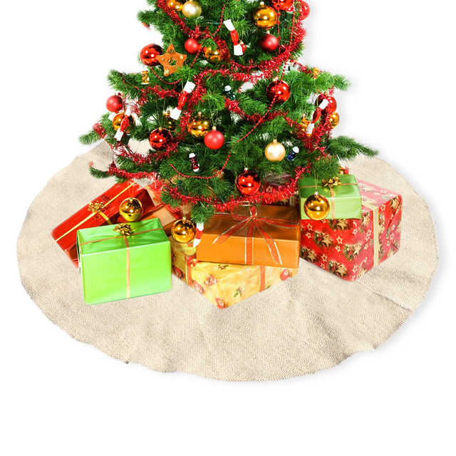 3048inch jute burlap christmas tree skirt carpet decoration for xmas new year party home - Burlap Outdoor Christmas Decorations