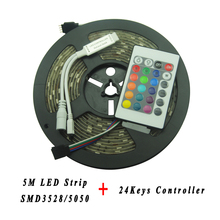 5M SMD 3528 5050 Waterproof LED Strip Flexible RGB LED Tape Light Set  24 keys IR Remote Controller Indoor Background Decoration