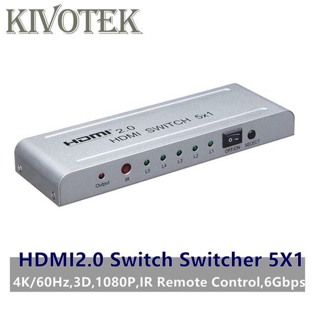 HDMI2.0 Switch Switcher 5x1 Adapter 4K60Hz 3D 1080P HDMI Female Connector IR Remote Control for PS3/4 DVD HDTV STB Free Shipping