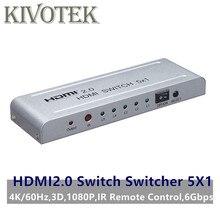 HDMI2.0 מתג Switcher 5x1 מתאם 4K60Hz 3D 1080P HDMI נקבה מחבר IR שלט רחוק עבור PS3/ 4 DVD HDTV STB משלוח חינם