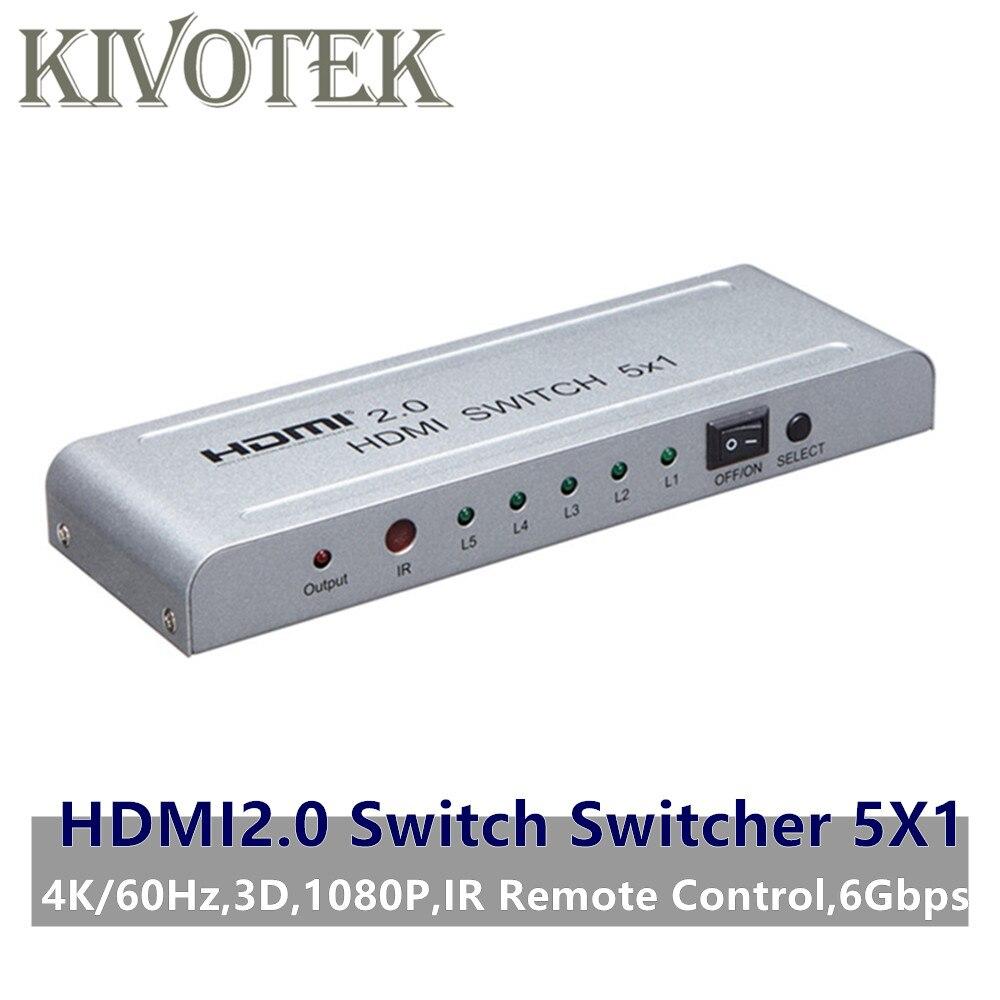 HDMI2.0 commutateur commutateur 5x1 adaptateur 4K60Hz 3D 1080P HDMI femelle connecteur IR télécommande pour PS3/4 DVD HDTV STB livraison gratuite