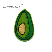 DOUBLEHEE 3.7cm*6.2cm Embroidered Iron On Patches Lovely Green Fruit Avocado Design Embroidery DIY Shoes Bags Accessories