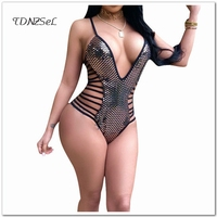 Women Sexy Spaghetti Strap Shiny Bodysuit Erotic Hollow Deep V Low Cut Backless Glitter Cami Bodysuit Beach Sleeveless Playsuits