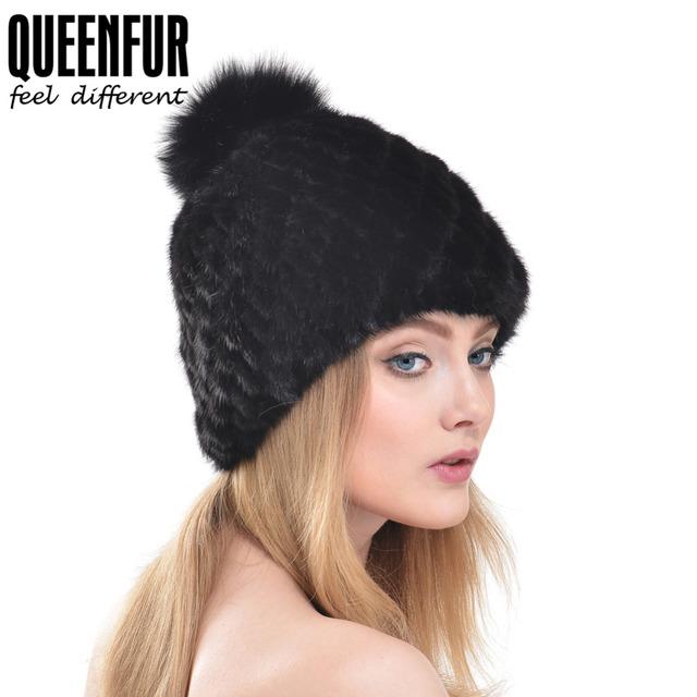 QUEENFUR Mulheres Inverno Chapéu De Pele de Vison malha Natural Fur Gorros com Pele De Raposa Bola Cap 2016 Elegante Senhora de Boa Qualidade chapéu