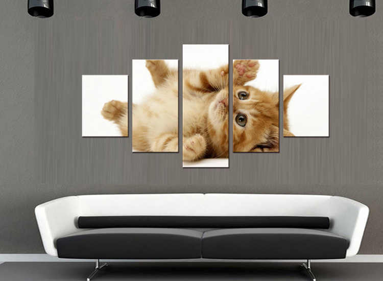 5 pieces / set Modern Animals Pet Cat Quotes Canvas Art Print Poster Nursery Wall Picture Kids Baby Room Decor Painting