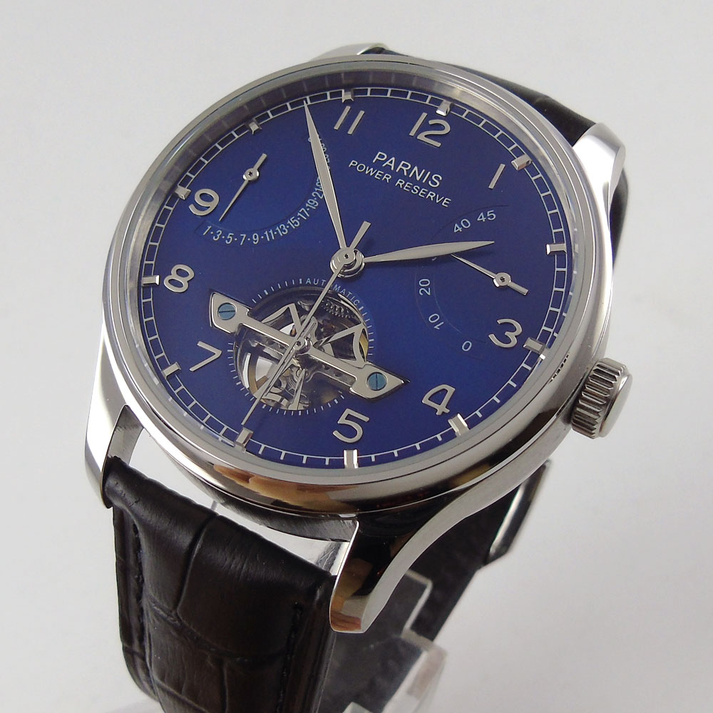 43mm parnis Blue Dial Date adjust silver hands Leather strap Valentines gifts Romantic Sweet Automatic Mechanical men's Watch