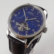 43mm parnis Blue Dial Date adjust silver hands Leather strap Valentines gifts Romantic Sweet Automatic Mechanical mens Watch