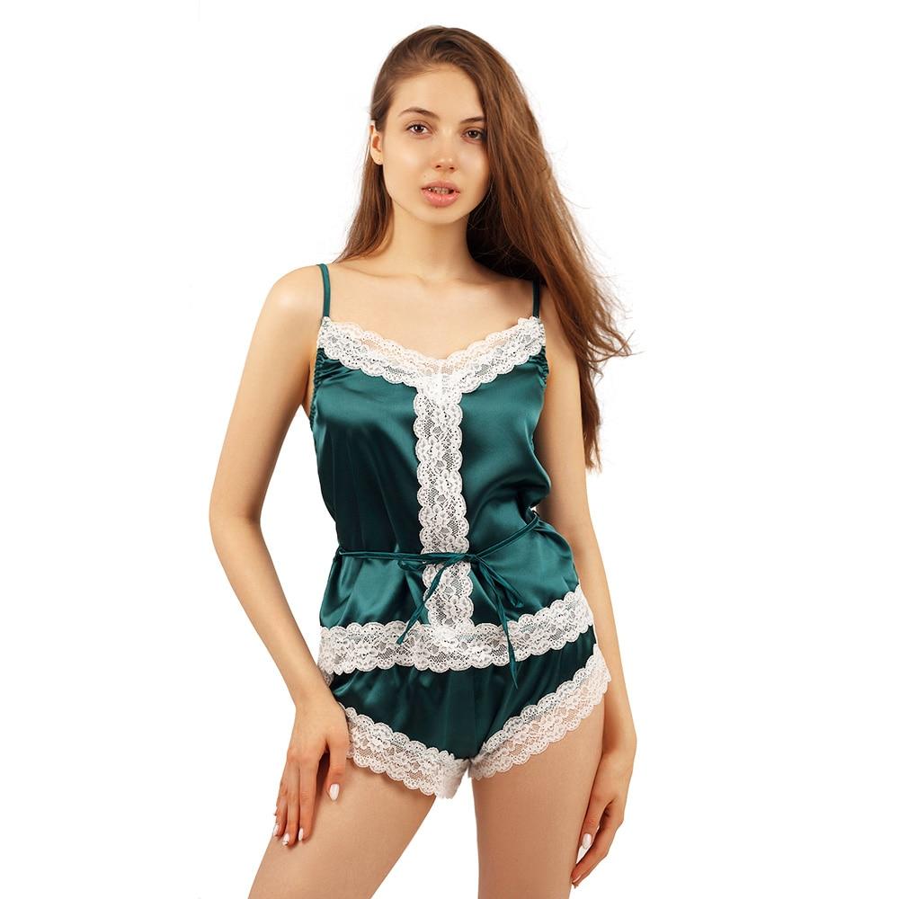 Lace Trim Satin Cami Top With Shorts Spaghetti Shirt Pajamas Set Contrast Lace Nightwear Summer Sleepwear For Women
