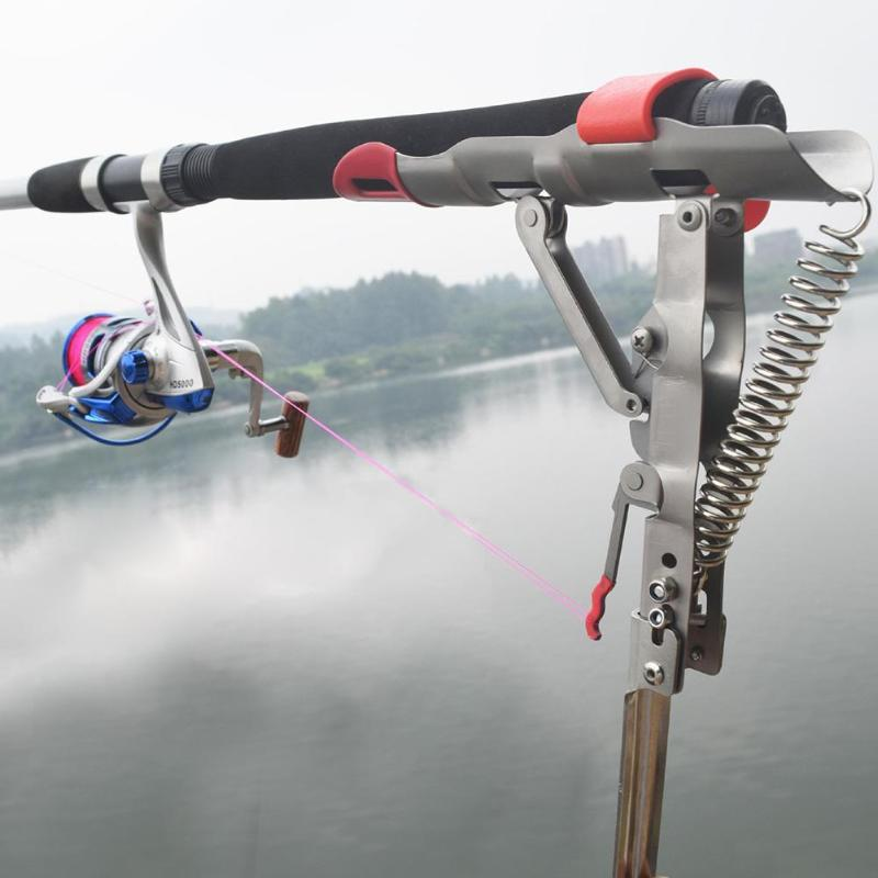 New Foldable Automatic Double Spring Angle Fishing Pole Tackle Bracket Anti-Rust Steel Fishing Bracket Rod Holder Fish Tackle