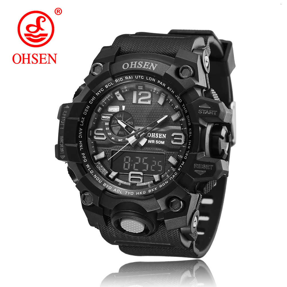 OHSEN Brand Sport Watch Men's Fashion Analog Quartz LED Digital Electronic Watch Waterproof Military Watches Relogio Masculino