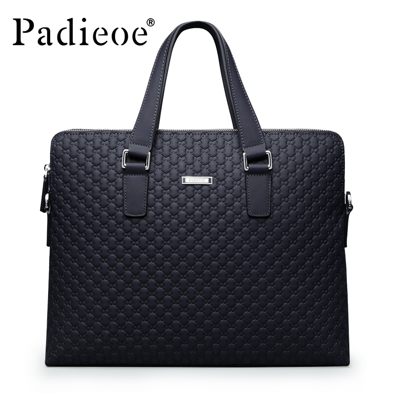 Padieoe Famous Brand Genuine Leather Men Messenger Bag Business Men Briefcase Casual Man Shoulder Bags Large Laptop Bag for Male