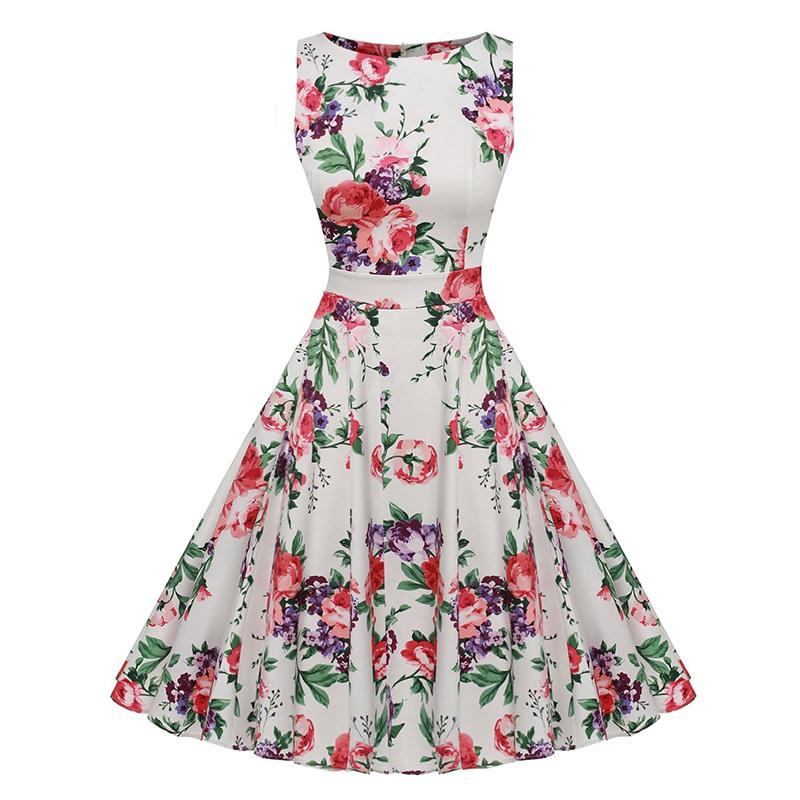Kostlish Cotton Summer Dress Women 2017 Sleeveless Tunic 50s Vintage Dress Belt Elegant Print Rockabilly Party Dresses Sundress (64)