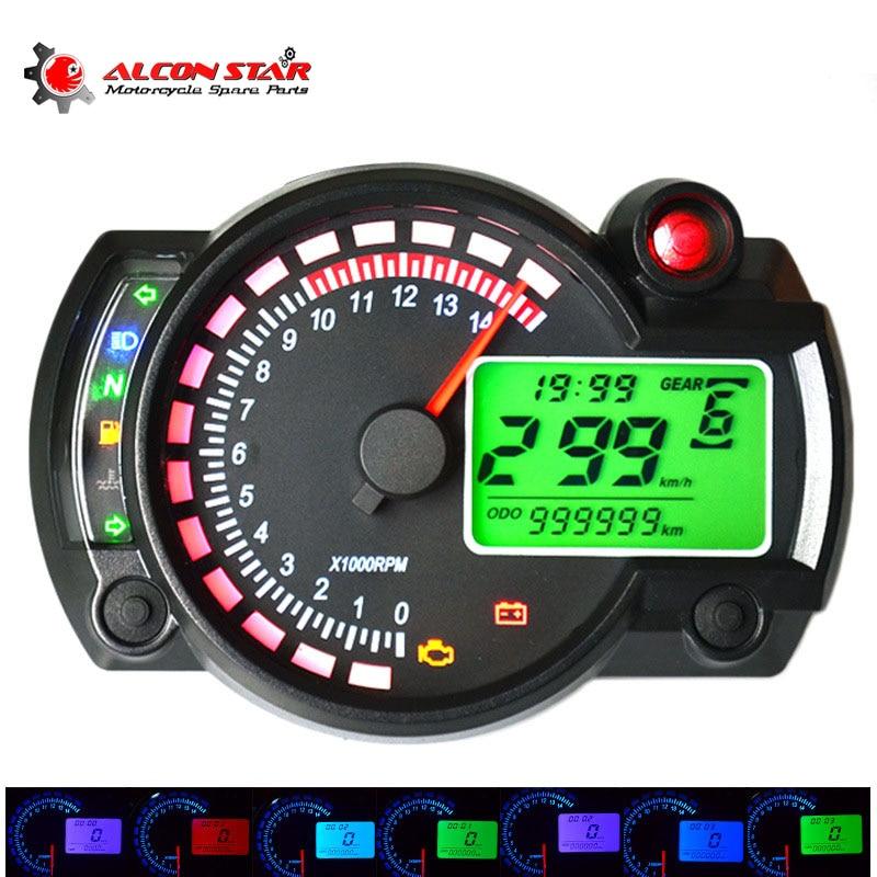 Alconstar- reguliuojamas motociklų skaitmeninis spidometras KOSO LCD skaitmeninis matometras 299 MPH / KPH Universalus motociklui montuoti