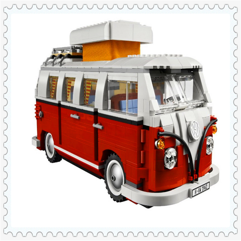 LEPIN 21001 Creator Volkswagen T1 Camper Van Building Block 1352Pcs DIY Educational  Toys For Children Compatible Legoe decool 3114 city creator 3in1 vehicle transporter building block 264pcs diy educational toys for children compatible legoe