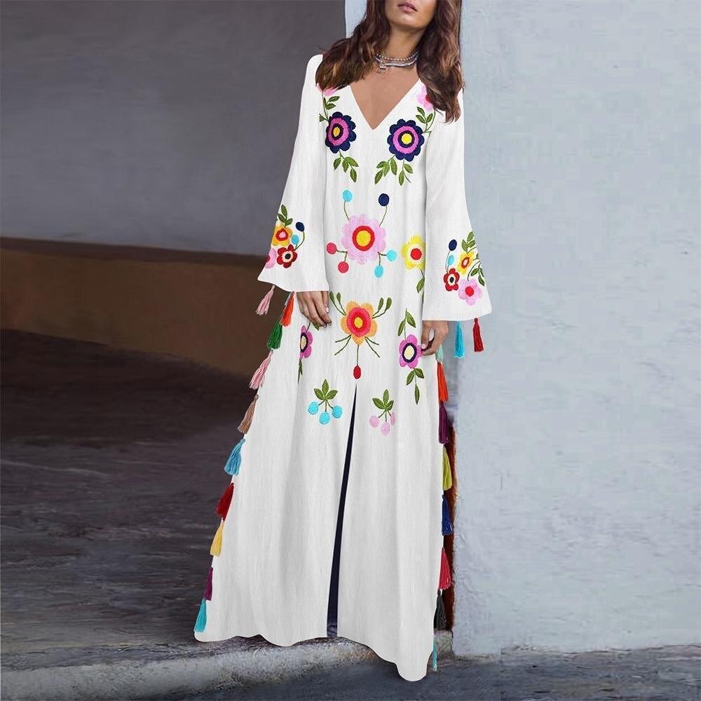 Summer 2019 Plus Size Floral Boho Dress Beach Bohemian Style Flower Long Dresses Flare Sleeve Split Fringe Dress For Women in Dresses from Women 39 s Clothing