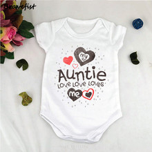 White Newborn Bodysuits My Auntie Loves Me Letters Print Baby Jumpsuits Summer Children Boys Girls Clothes Clothing Outfits 0-2Y(China)
