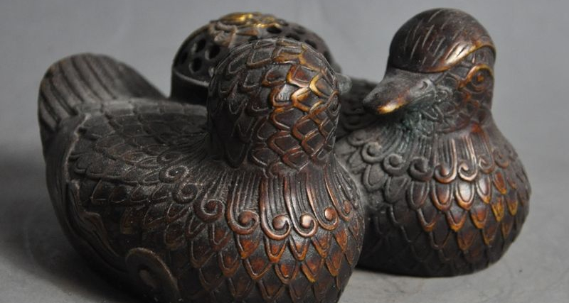 Marked Chinese Bronze Mandarin Duck Bird Lotus Statue Incense Burner Censer