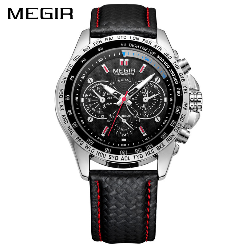 MEGIR Mens Watches Top Brand Luxury Quartz Men Watch Fashion Casual Black PU Starp Clock Men