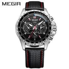 Megir Спорт Для мужчин S Часы лучший бренд класса люкс кварц Для мужчин часы модные Повседневное черный PU Starp часы Для мужчин большой циферблат erkek Саат 1010
