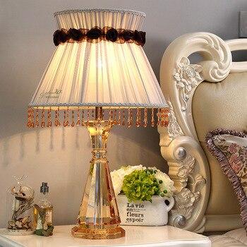 Candeeiro de Mesa De Cristal moderno Quarto Tecido Abajur Decoração Abajur de Mesa lâmpada Para Quarto Sala de estar Lâmpadas De Mesa