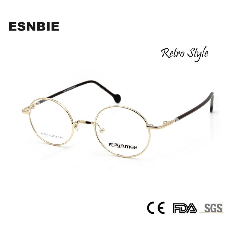 ESNBIE Retro Design Muži malé okrouhlé brýle Ženy myopia brýle Vintage rámy brýlí v prostém objektivu oculos de grau