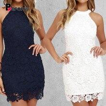 BEFORW Summer Sleeveless White Mini Dress Elegant Lace Halter Party Dress Women Clothes Bodycon Sexy Club Dresses Vestidos