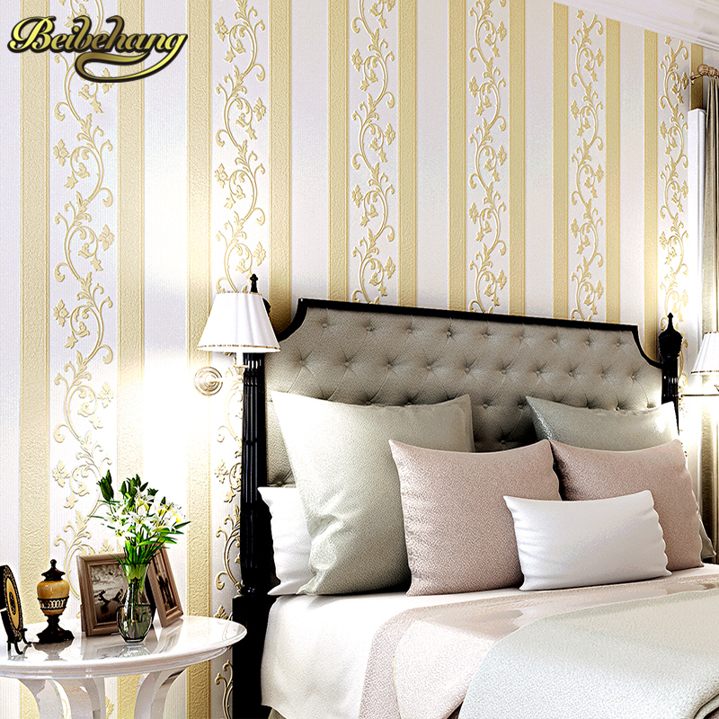 beibehang Simple European Style Vertical Nonwoven Wallpaper Bedroom Background Living Room TV Wallpaper 3D Thick Wallpaper modern simple wallpaper fashion grain pattern nonwoven nonwoven 3d mural wallpaper tv sofa bedroom background wallpaper