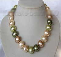 stunning big 19mm baroque multicolor south sea shell pearl necklace s1954