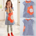2017 Summer Baby Girl Sundress Kids Cotton Short Sleeve Casual Princess Clothes Classical Striped Cartoon Vest Dress Robe Fille