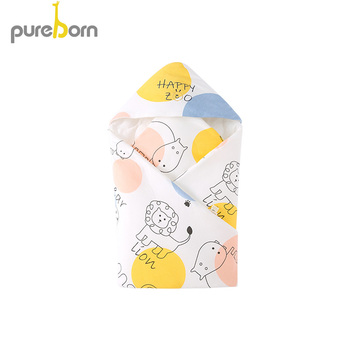 Boy Baby Bedding   Pureborn Newborn Baby Boys Girls Hooded Cartoon Animal Swaddle Bedding Blanket Thicker Warmer Larger Cotton Polyester Blanket