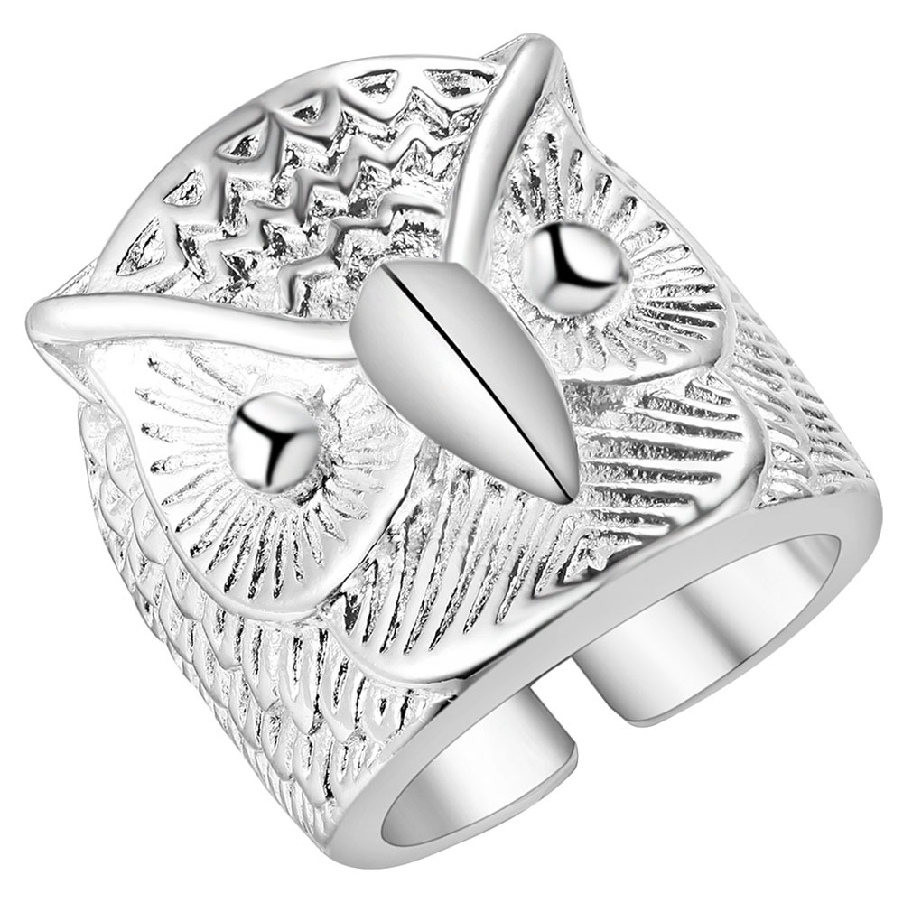Ufooro Fashion Design Retro Punk Style Stainless Steel Ring Adjustable  Opening Men's Cool Owl Ring Party Jewelry Factory Price