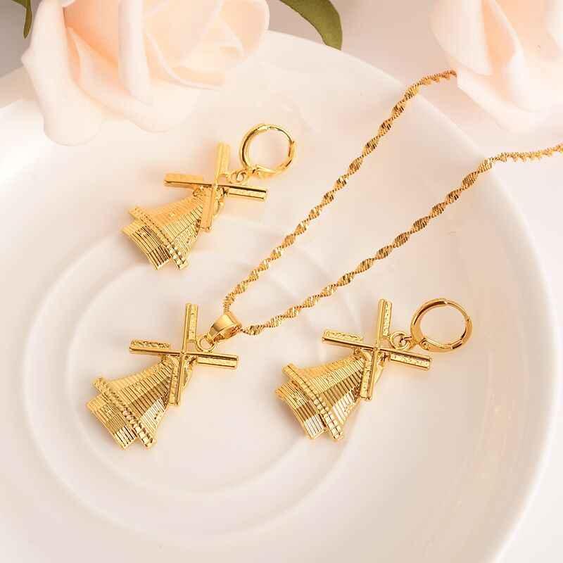 Oro sólido lleno molino colgante collar pendientes Holanda fiesta tradicional Boda nupcial recuerdo joyería nuevo