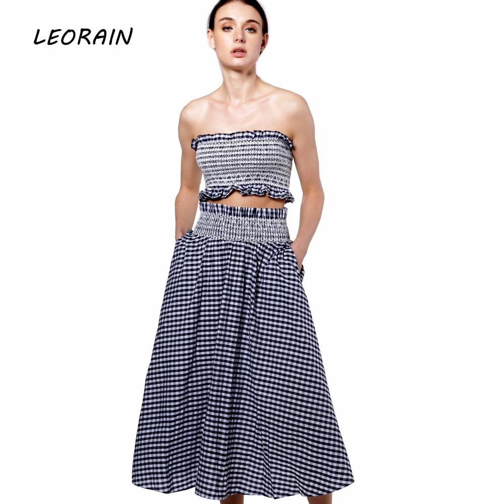 Womens Summer Skirt Sets 100% Cotton Plaid Beach Wear Sexy Crop Top Sets 2017 Casual Womens Two Piece Skirt Suits LEORAIN