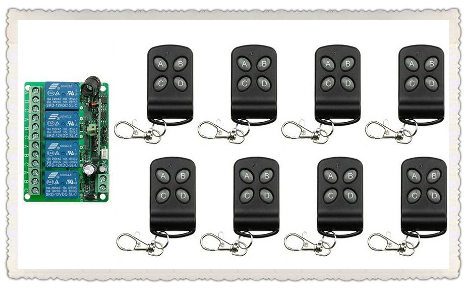DC12V 4CH Relay 10A RF Wireless Remote Control Switch System 1* Receiver & 8*Transmitter Wireless Lighting Switch For Smart Home