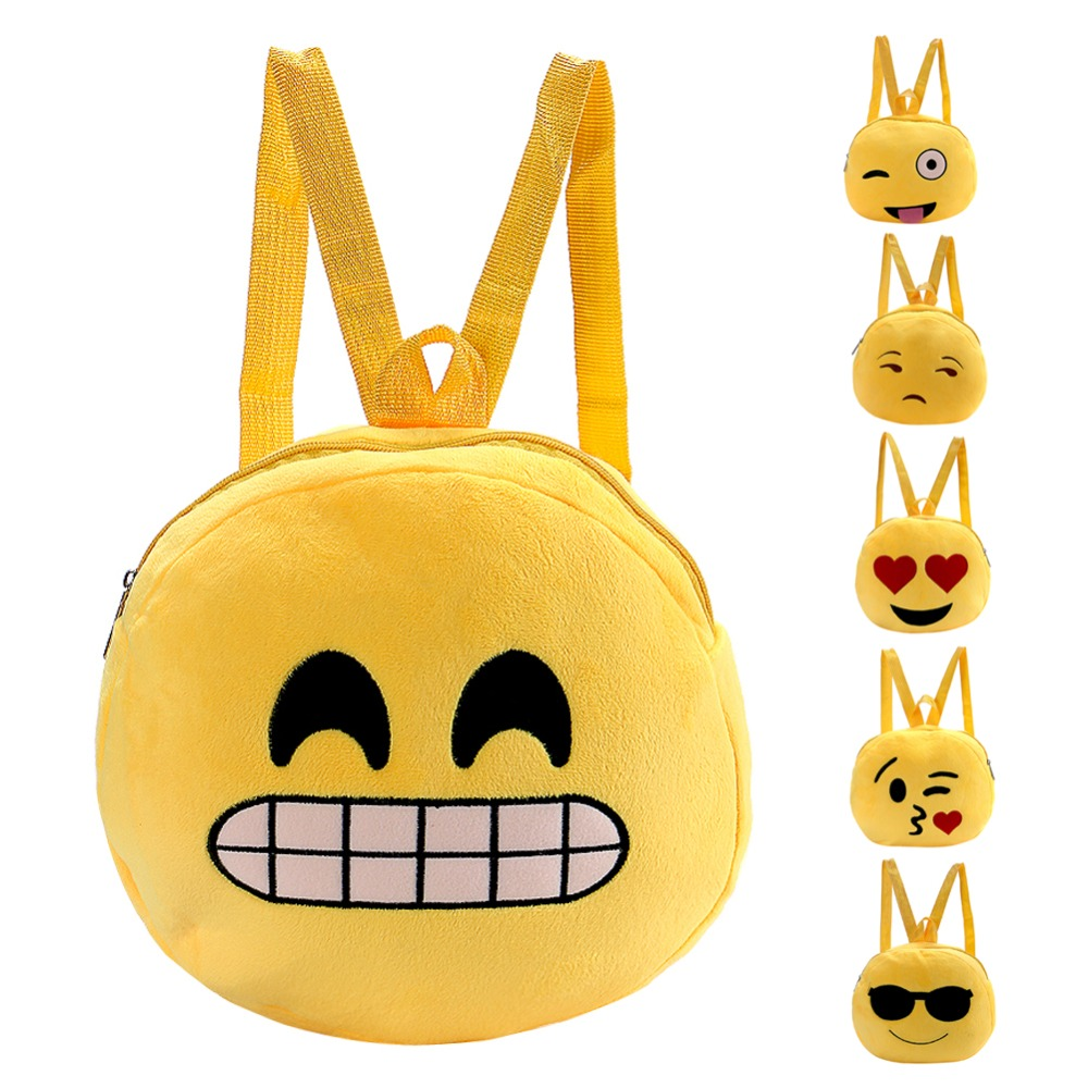 Fashion emoji Face Expression Plush Toy Children Backpacks for Teenage Girls School Bag Girl Backpack School Bags for Teenagers
