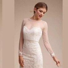 Прозрачные Свадебные накидки простая шаль для возлюбленной элегантный длинный рукав свадебные кружевные пиджаки белые свадебные аксессуары