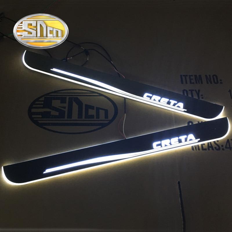 SNCN 4 pcs Voiture LED Porte Sill Pour Hyundai Creta 2015-2018 Ultra-mince Acrylique Qui Coule LED Bienvenue lumière Plat D'usure Pédale