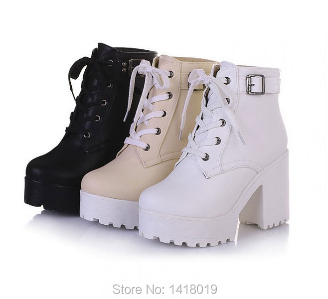 NEW HOT Womens Punk Chunky Heel Platform lace Up Buckle Strap ...