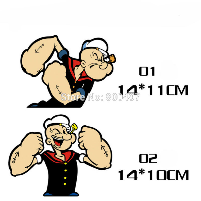 10 x Newest Car Styling Funny Popeye the Sailor Muscle Car Sticker Decals for Toyota Honda Chevrolet Volkswagen Tesla BMW Lada