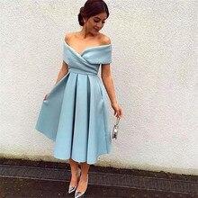 Basit nane mavi kısa gelinlik modelleri 2019 tekne boyun kap kollu saten düğün parti törenlerinde Custom Made durum elbise DQG899