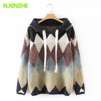 2018 women clothing long sleeve hooded argyle relaxed sweater long Tops Female casual loose pullovers knitted jumpers W2855