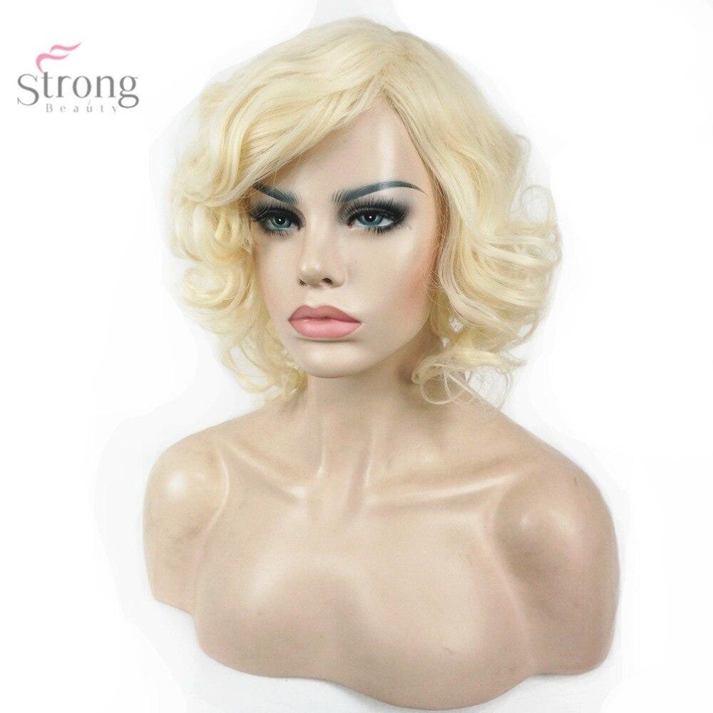 mujeres peluca rubia de pelo corto y rizado pelucas llenas sintticas